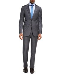 Armani Collezioni Box Textured Wool Two Piece Suit Gray