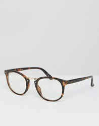 Asos Round Glasses In Tort With Clear Lens Tort Brown