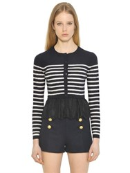Red Valentino Striped Cable Wool Knit And Lace Cardigan
