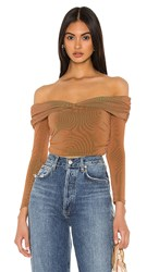 Privacy Please Miley Top In Brown. Brown Tonal Stripe