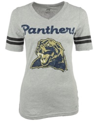 Soffe Women's Short Sleeve Pittsburgh Panthers V Neck T Shirt Gray