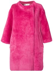 Lanvin Reversible Leather Shearing Coat Pink And Purple