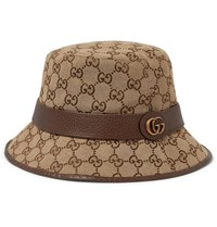6059098f7 Leather Trimmed Monogrammed Canvas Bucket Hat Brown