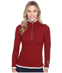 Kuhl Alska 1 4 Zip Red Spice Women's Long Sleeve Pullover Brown