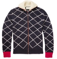 Gucci Geometric Intarsia Zip Up Wool Sweater Blue