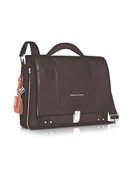 Piquadro Link Slim 15 Laptop Expandable Messenger Bag Dark Brown