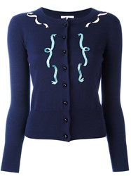 Olympia Le Tan Embellished Front Jumper Blue