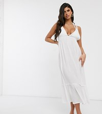Akasa Exclusive Beach Dress With Ruffle Tier In White