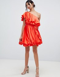 Forever Unique Ruffle One Shoulder Mini Dress Red