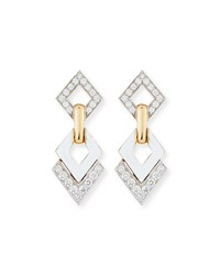 David Webb White Enamel And Diamond Interlocking Diamond Earrings