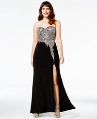 Crystal Doll Juniors' Plus Size Strapless Embellished Gown A Macy's Exclusive Style Black Silver