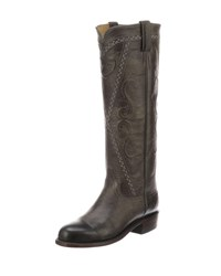 Lucchese Dora Crisscross Western Boots Anthracite Gray