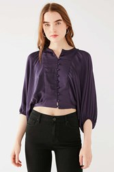 Urban Outfitters Uo Covered Button Down Tie Top Purple