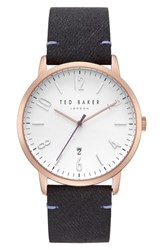 Ted Baker London Daniel Synthetic Strap Watch 42Mm Silver Black