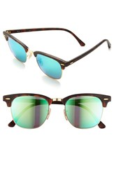 Men's Ray Ban 'Flash Clubmaster' 51Mm Sunglasses Tortoise Green Flash