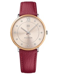 Tommy Hilfiger Women's Sloane Red Leather Strap Watch 40Mm Rose