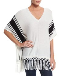 Autumn Cashmere V Neck Striped Poncho With Fringe Cloud Black