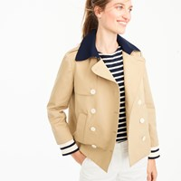 J.Crew Cropped Trench With Built In Striped Cuffs