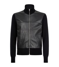 Tom Ford Leather Panel Cardigan Male Black