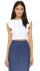 Kendall Kylie Flutter Sleeve Crop Top White