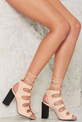Nasty Gal Be My Leather Lace Up Heels Beige