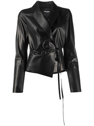Dsquared2 Tie Waist Leather Jacket 60