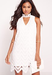Missguided Choker Neck Lace Bodycon Dress White White
