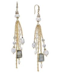 Paul And Pitu Naturally 14K Gold Plated Multi Stone Imitation Pearl Drop Earrings