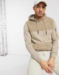 Soul Star Teddy Hoodie With Panelling In Beige