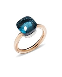 Pomellato Nudo Classic Ring With London Blue Topaz In 18K Rose Gold And White Gold Blue Rose