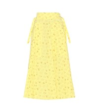 Bottega Veneta Cotton And Linen Printed Skirt Yellow