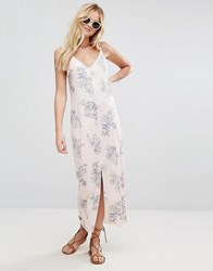 Asos Maxi Dress With V Back In Floral Print Floral Print Multi