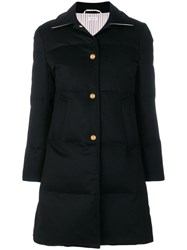Thom Browne Down Filled Jacket Weight Cashmere Overcoat Blue
