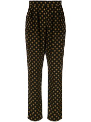 Andrea Marques Printed Pleat Trousers Black