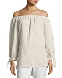 Neiman Marcus Off The Shoulder Striped Top Tan