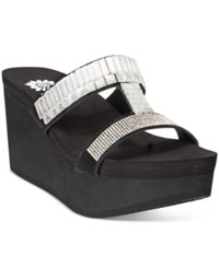 Yellow Box Anja Rhinestone Wedge Sandals Women's Shoes Black Clear