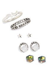 Women's Berry 'Moon' Earring And Ring Pack Set Of 5