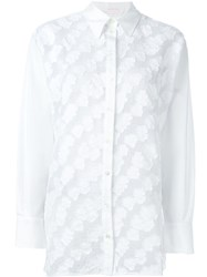See By Chloe See By Chloe Embroidered Flower Mesh Shirt White