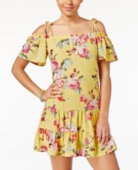 Teeze Me Juniors' Ruffled Floral Print Off The Shoulder Dress Yellow Multi
