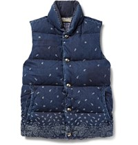 Remi Relief Bandana Print Cotton Down Gilet Mid Denim