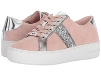 Michael Michael Kors Poppy Stripe Lace Up Soft Pink Sport Suede Antique Tumbled Metallic Chunky Glitter Women's Lace Up Casual Shoes