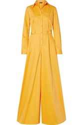 Brandon Maxwell Cotton And Silk Blend Poplin Jumpsuit Saffron