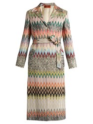 Missoni Single Breasted Zigzag Knit Trench Coat Multi