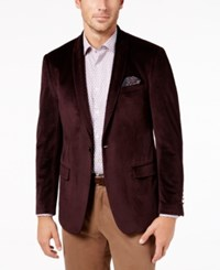Tallia Men's Slim Fit Burgundy Neat Shawl Collar Dinner Jacket Red