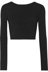 Cushnie Et Ochs Cropped Lace Up Ribbed Stretch Knit Top Black