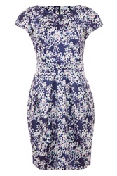 Wolf And Whistle Blossom Print Tailored Dress Blue