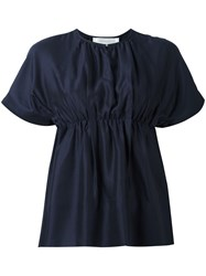 Victoria Beckham Gathered Waist T Shirt Blue