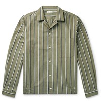 Camoshita Camp Collar Striped Cotton Oxford Shirt Green