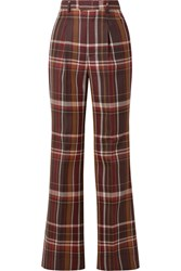 Acne Studios Checked Wool And Silk Blend Flared Pants Brown