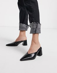 Topshop Pointed Mule With Block Heel In Black